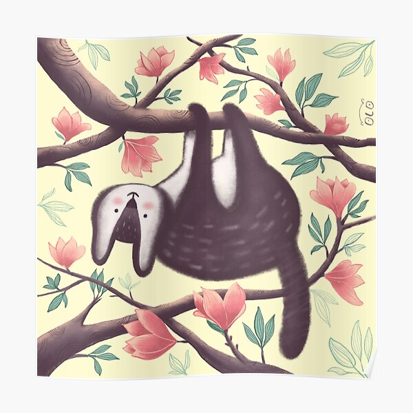 The cute animal in the magnolia branches Poster