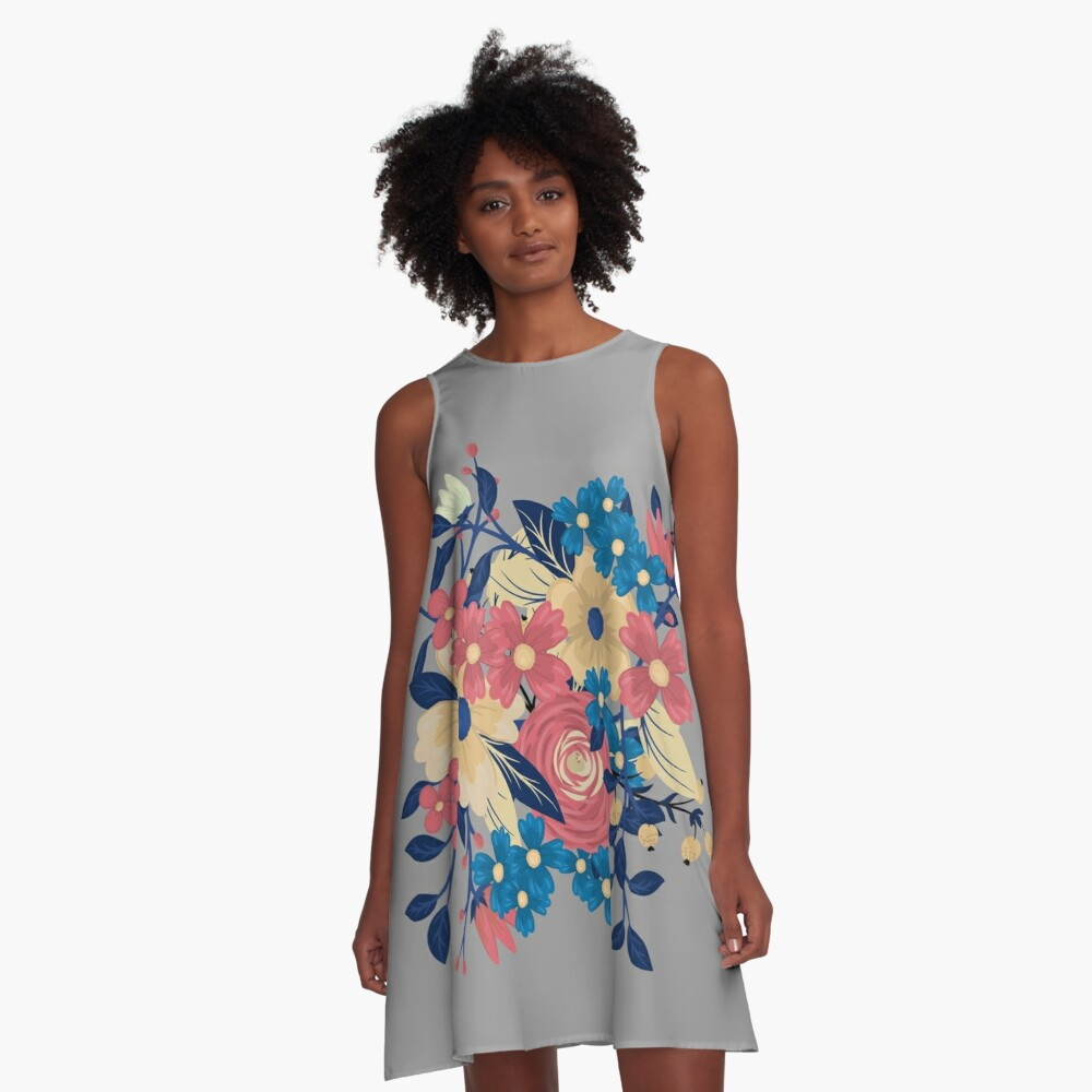 Floral Flare Travel A-Line Dress Front
