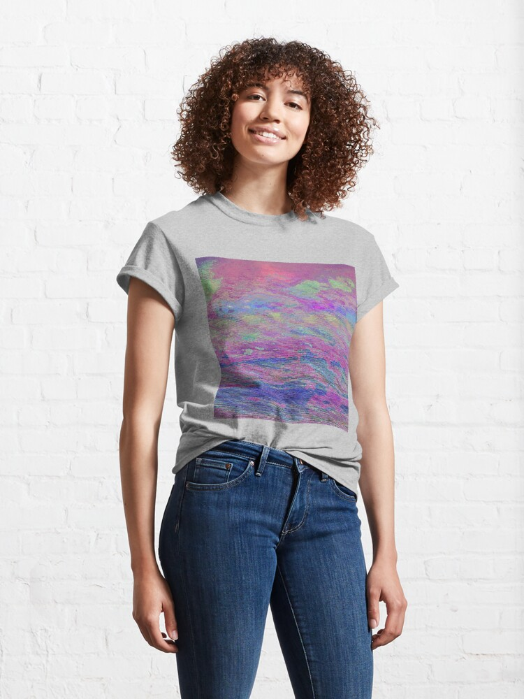 Alternate view of Vibrant Sky Glitch Art Classic T-Shirt