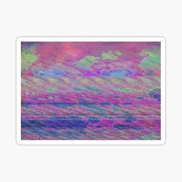 Vibrant Sky Glitch Art Sticker