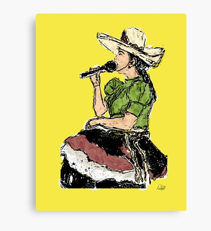 Cantante Painting Isla Mujeres Rancheras  Canvas Print