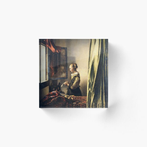 HD Girl Reading a Letter by an Open Window, by Johannes Vermeer HIGH DEFINITION Acrylic Block