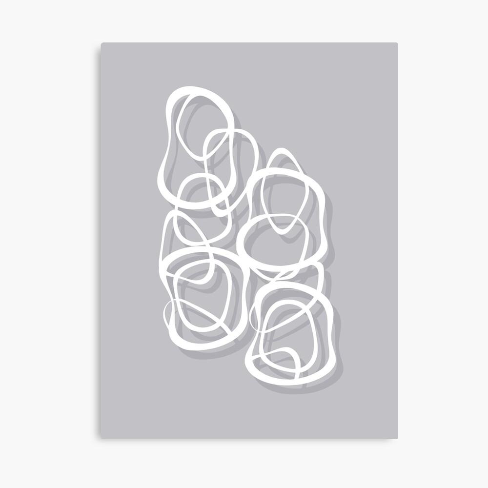 Interlocking - White on Soft Gray Owl - Pattern Canvas Print