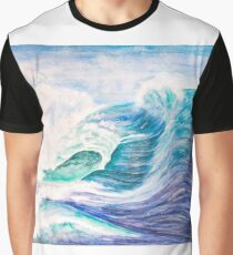 Waves in Watercolour Graphic T-Shirt