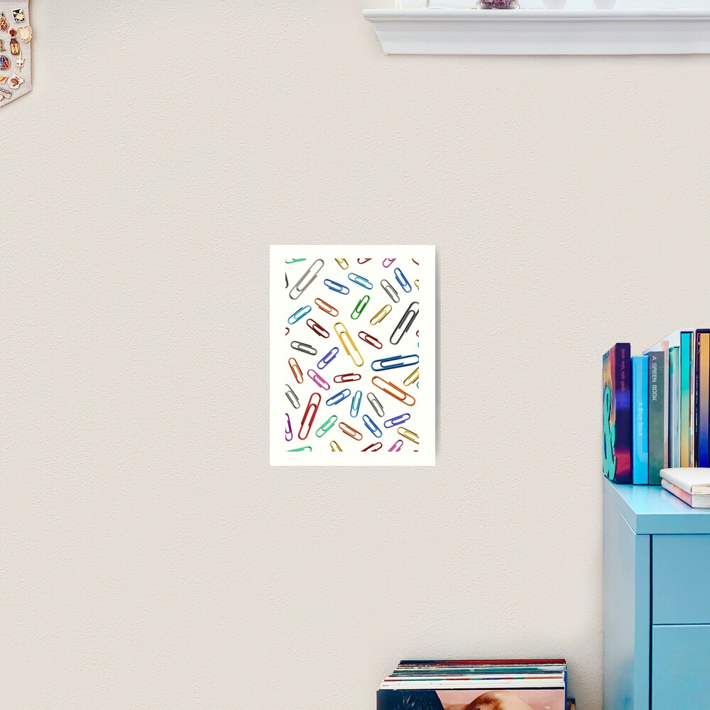 Paperclips Handdrawn in Rainbow Art Print