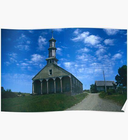 A Chilote church, Isla Chiloe, Chile Poster