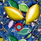 Blue Daisies and Limes - Summer Landscape Rupy de Tequila Boho Chic  by rupydetequila
