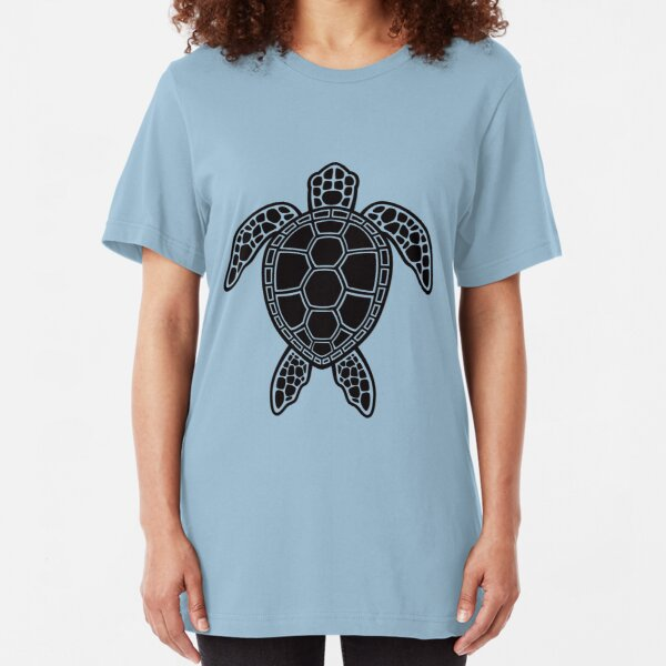 Green Sea Turtle Design - Black Slim Fit T-Shirt