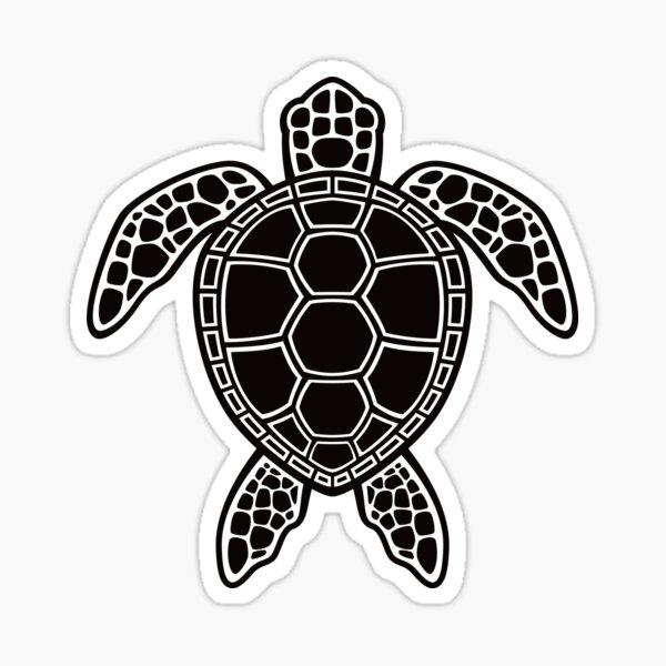 Green Sea Turtle Design - Black Sticker