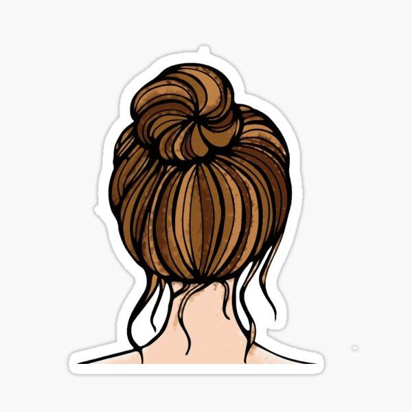 Messy Hair Bun- Brown Sticker