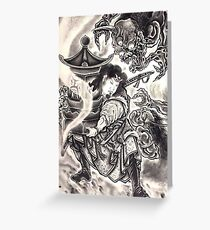 Classic Vintage Japanese Demon Ink Tattoo Greeting Card