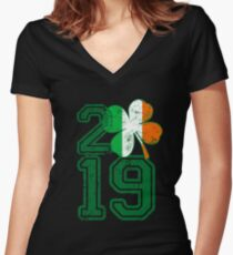 2019 St Patrick s Day Women's Fitted V-Neck T-Shirt