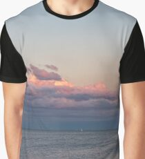 Breezy Pink and Blue Waterscape Graphic T-Shirt