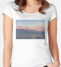 Breezy Pink and Blue Waterscape Women's Fitted Scoop T-Shirt