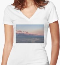 Breezy Pink and Blue Waterscape Women's Fitted V-Neck T-Shirt