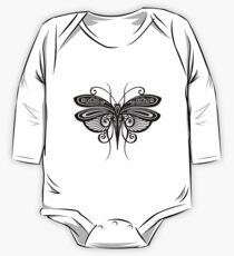 Black and White Illustration of Exotic Grasshopper One Piece - Long Sleeve