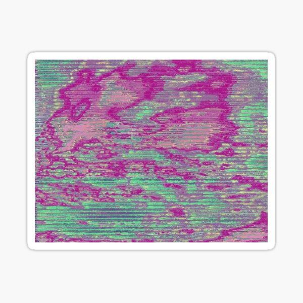 Teal and Pink Sky Glitch Art Sticker