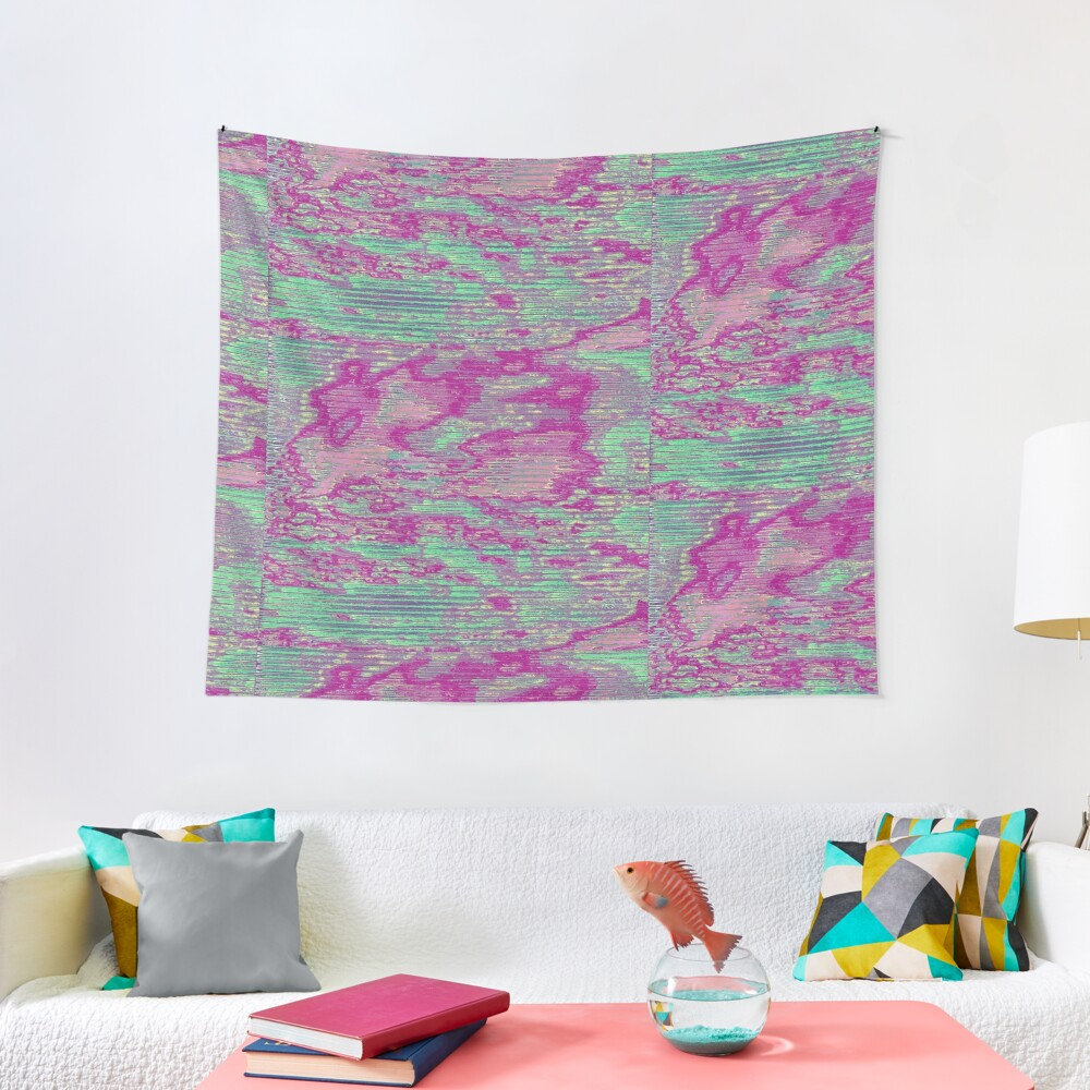 Teal and Pink Sky Glitch Art Tapestry