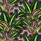 Palm on Polygon Pattern - White Purple Gold by Nicole Demereckis