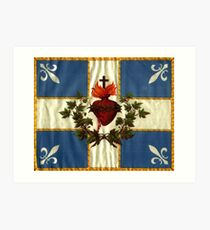 Quebec flag drapeau Québec Patriote Carillon Sacré-Cœur Christian Catholic old vintage edition with fleurs de lys HD HIGH QUALITY Art Print