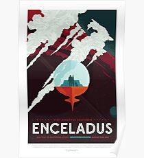 Enceladus - Exoplanet-Reisebüro, JPL-Reise-Plakat, Visionen der Zukunft, NASA, Planeten Poster