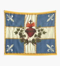 Quebec flag drapeau Carillon Sacré-Cœur Christian Catholic old vintage edition with fleurs de lys HD HIGH QUALITY Wall Tapestry