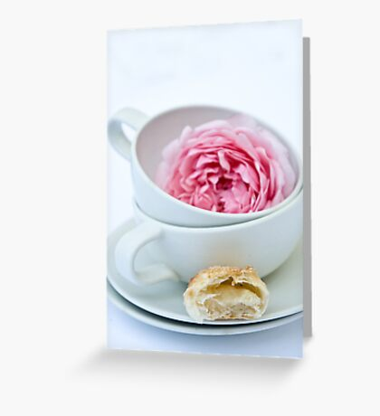 Puff Pastry Cookies With Almond and Rose Filling Greeting Card