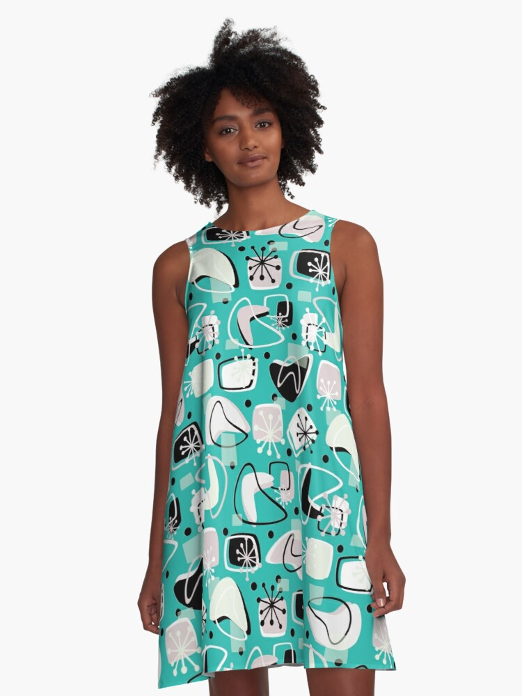 Retro Boomerangs Revamp Mono Turquoise A-Line Dress Front