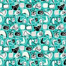 Retro Boomerangs Revamp Mono Turquoise by Holly Bender