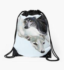 Whippet Art - Lean on me Drawstring Bag