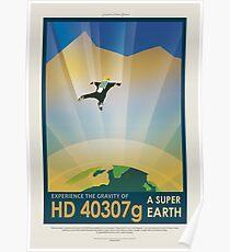 Exoplanet HD 40307g, Super Earth - Exoplanet Reisebüro, JPL Reise Poster, Visionen der Zukunft, NASA, Planeten Poster