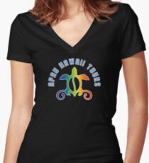 Apau Hawaii Tours - Collegiate Style Logo Women's Fitted V-Neck T-Shirt