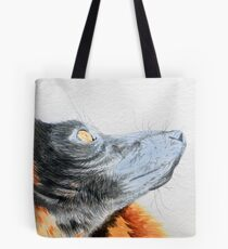 Red Ruffed Lemur looking to the sky Tote Bag