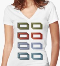 Impossible Blocks Women's Fitted V-Neck T-Shirt