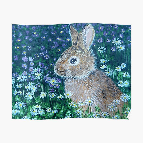Bunny with Flowers Poster
