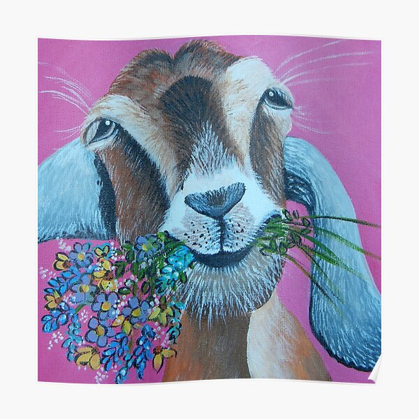 Goat with Flowers Poster