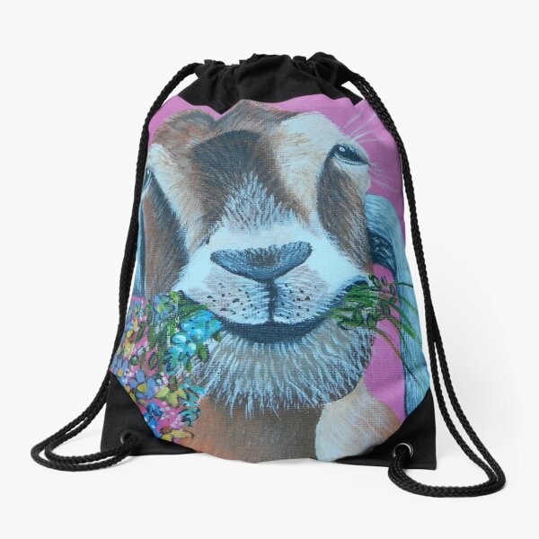 Goat with Flowers Drawstring Bag