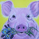 Pink Pig with Flowers by Karen Scott