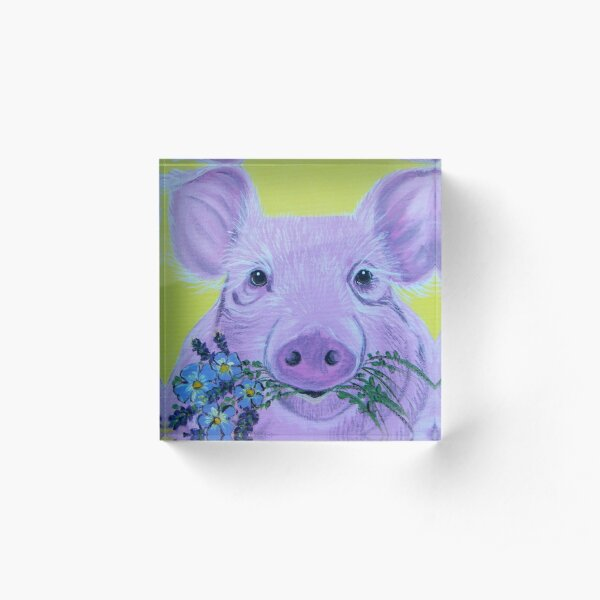 Pink Pig with Flowers Acrylic Block