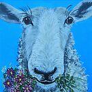 Sheep with Flowers by Karen Scott