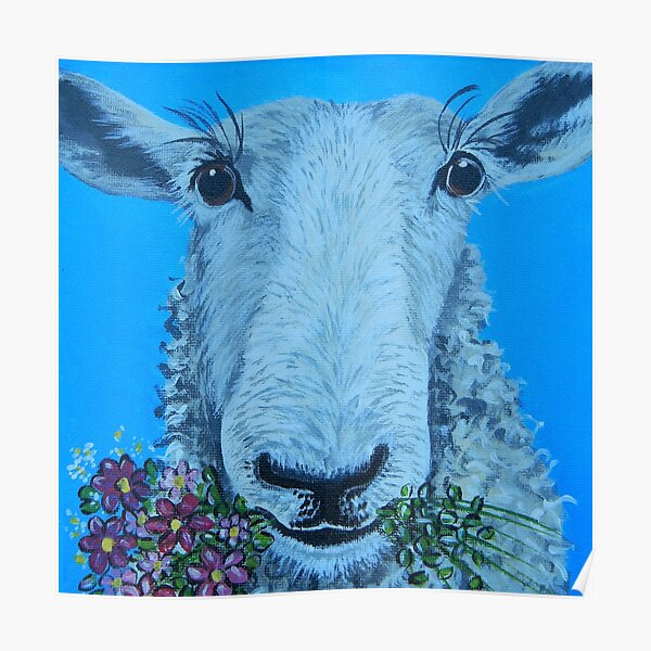 Sheep with Flowers Poster