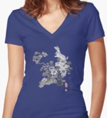 Bunnies and Daisies Women's Fitted V-Neck T-Shirt