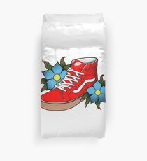 1e2b58a769 RED HIGH TOP VANS WITH GUM SOLES Duvet Cover