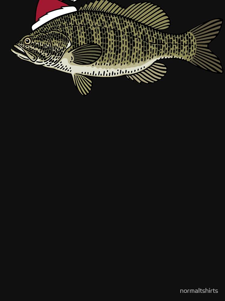 Smallmouth Bass Christmas Santa Hat Funny Xmas Fishing by normaltshirts