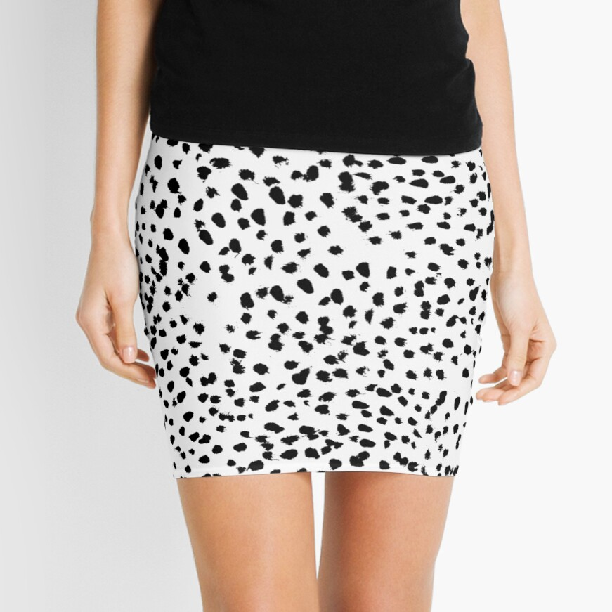 Nadia - Black and White, Animal Print, Dalmatian Spot, Spots, Dots, BW Mini Skirt