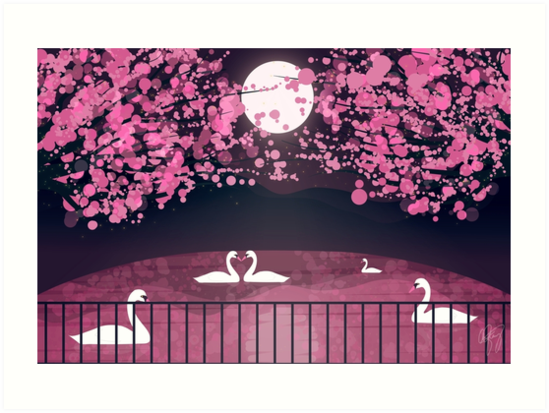 Cherry Blossoms and Swans by drxgonfly
