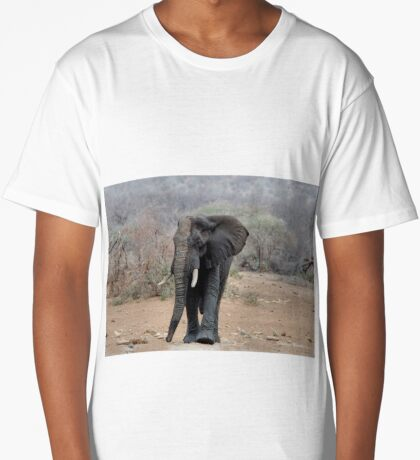 THE LONELY BUL -  THE AFRICAN ELEPHANT – Loxodonta africana Long T-Shirt