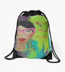 Original Artwork Acrylic Painting Portrait  Drawstring Bag