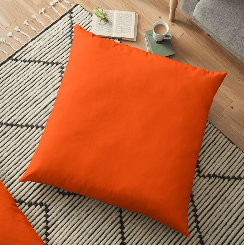PLAIN ORANGE RED | SOLID COLOR ORANGE RED Floor Pillow