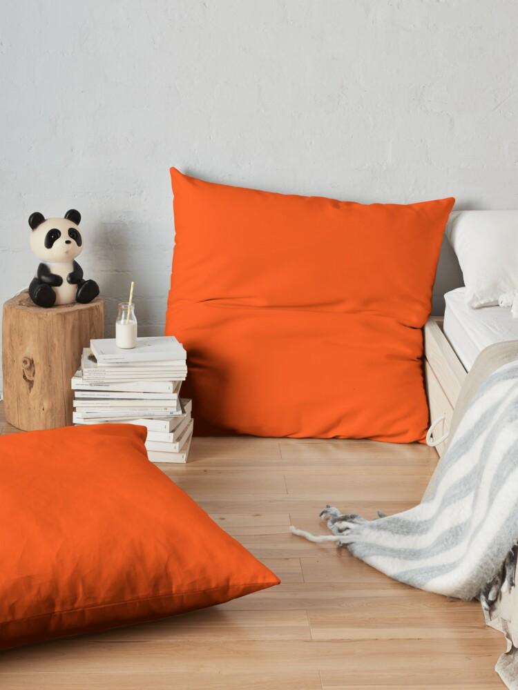 Alternate view of PLAIN ORANGE RED | SOLID COLOR ORANGE RED Floor Pillow